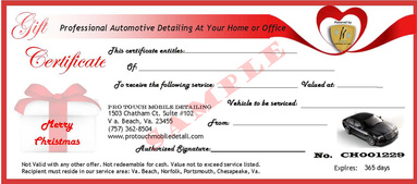 Pro Touch Mobile Detailing Gift Certificate